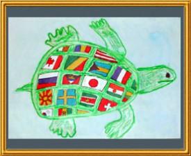 『カメの甲羅は世界地図』