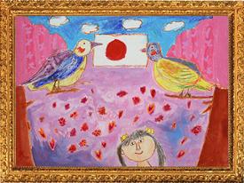 『色とりどりのさくらと二ひきの鳥』